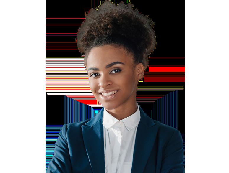 Modelo jovem negra, com um terno azul e sorrindo